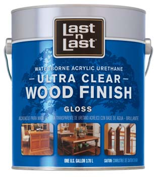 ABSOLUTE COATINGS 13001 LAST N LAST ULTRA CLEAR WATERBORNE WOOD FINISH GLOSS SIZE:1 GALLON.